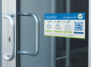 Checked by NSF COVID-19 sticker on door